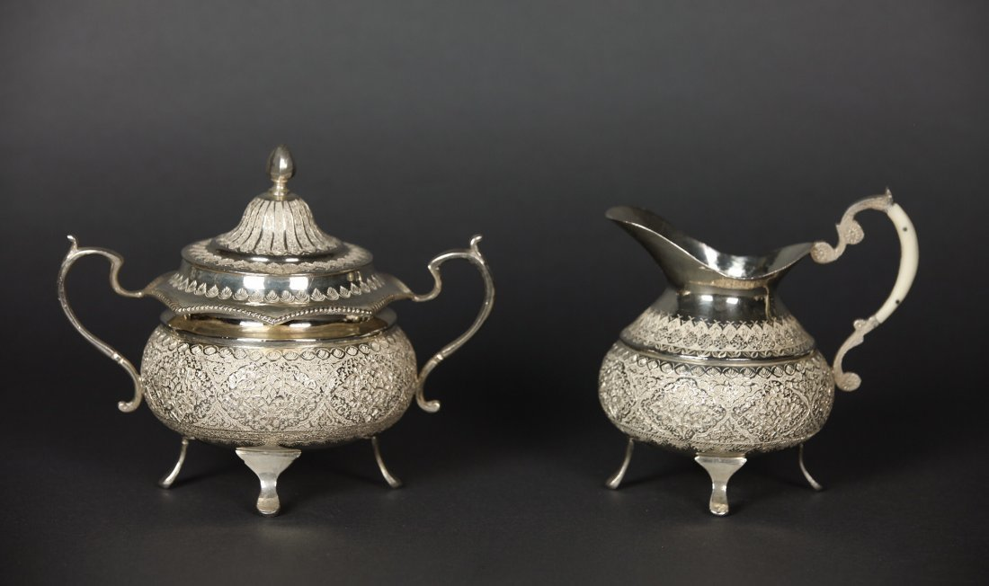 A LARGE IRANIAN SILVER TEA SET AND A TRAY - 3