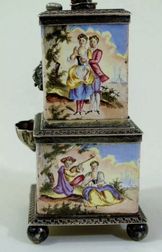 19TH CENTURY VIENNESE ENAMEL SILVER INKWELL - 3