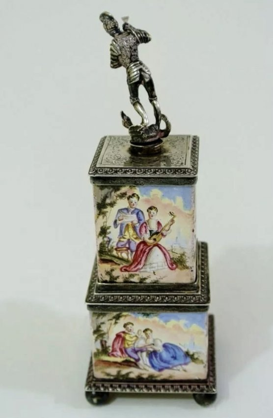 19TH CENTURY VIENNESE ENAMEL SILVER INKWELL - 4