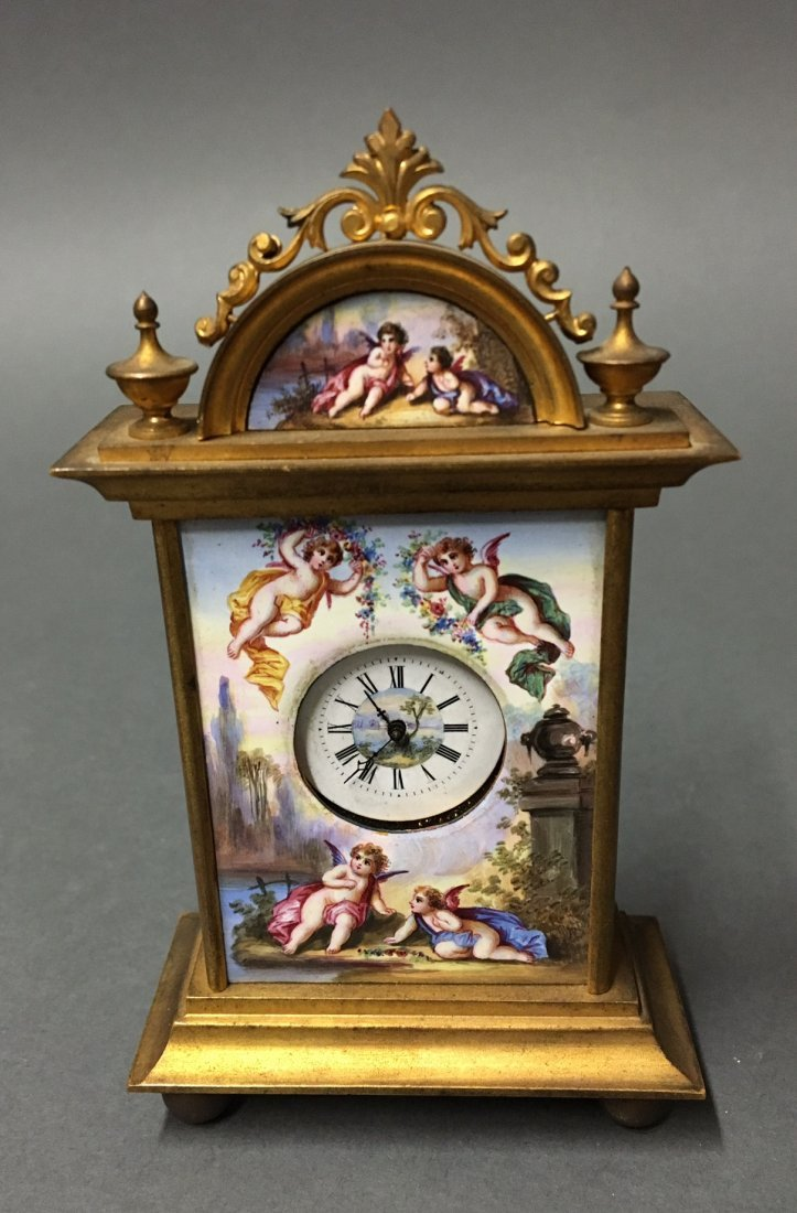 AUSTRIAN VIENNESE ENAMEL CLOCK