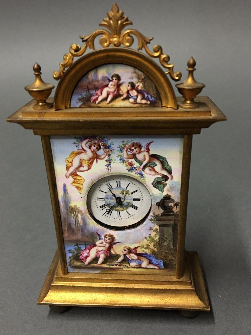 AUSTRIAN VIENNESE ENAMEL CLOCK - 2