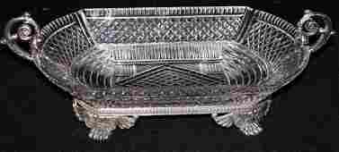ANTIQUE CUT CRYSTAL AND SILVER PLATE CENTERPIECE