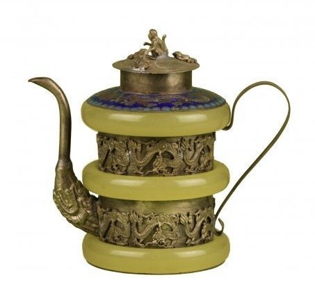 CHINESE SILVER JADE AND ENAMEL TEA POT