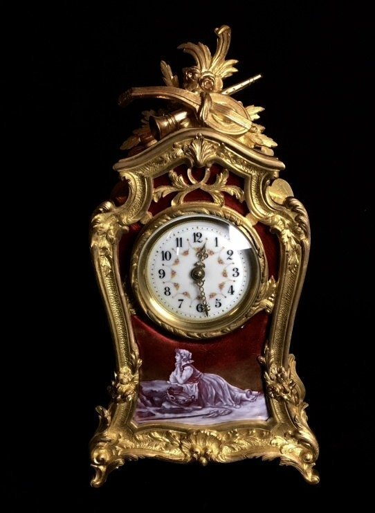19TH CENTURY DORE BRONZE AND LIMOGE ENAMEL CLOCK