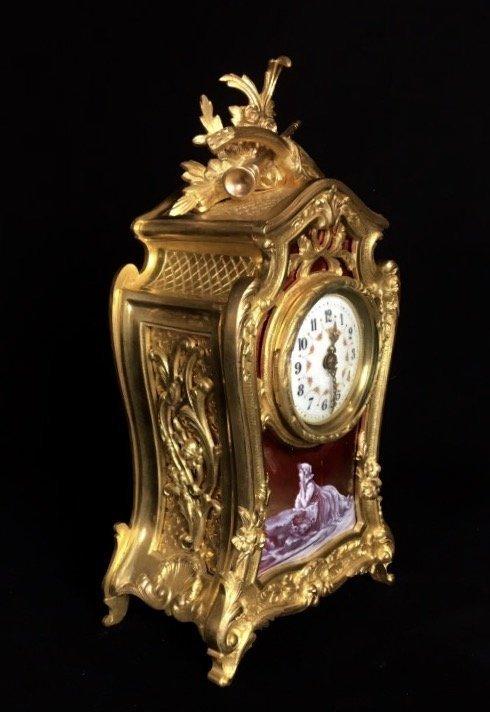 19TH CENTURY DORE BRONZE AND LIMOGE ENAMEL CLOCK - 2