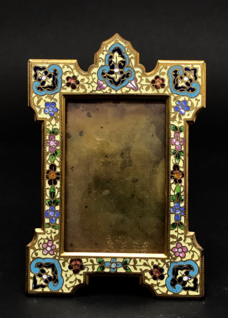 19TH C. FRENCH BRONZE CHAMPLEVE ENAMEL FRAME