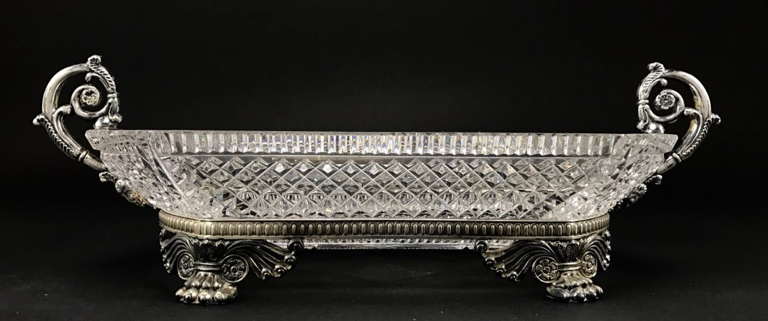 A PAIRPOINT SILVERED BRONZE AND CUT CRYSTAL BOWL