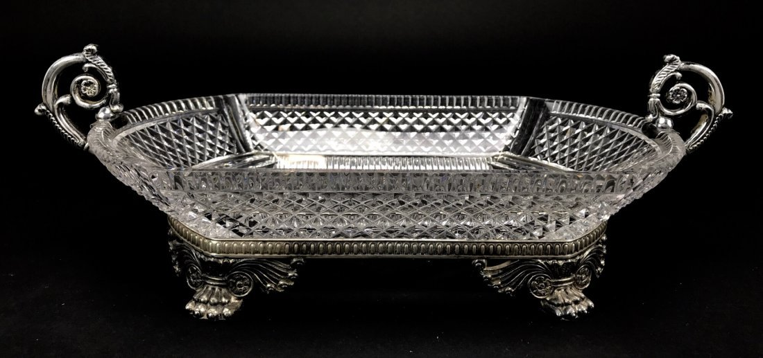 A PAIRPOINT SILVERED BRONZE AND CUT CRYSTAL BOWL - 2