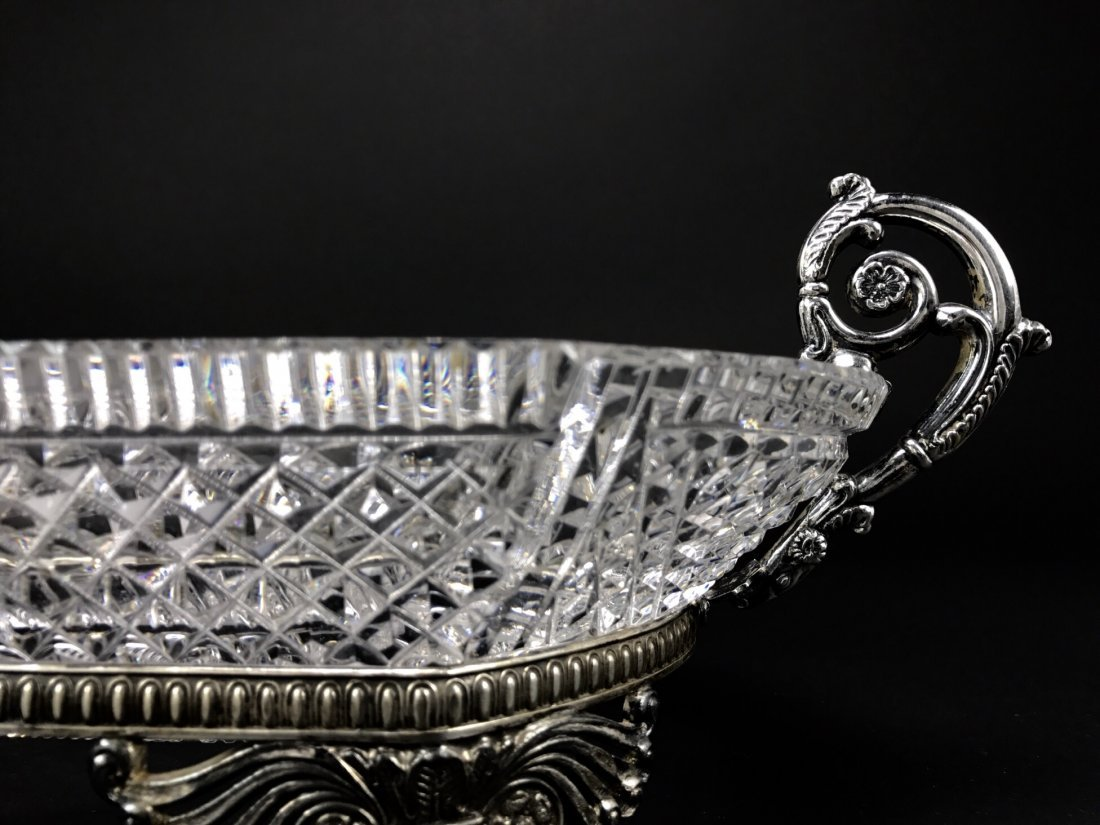 A PAIRPOINT SILVERED BRONZE AND CUT CRYSTAL BOWL - 3