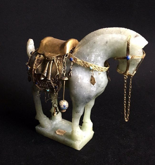 CHINESE JADE AND GILT SILVER HORSE - 2