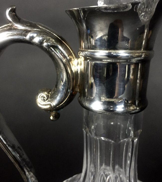 A PAIR OF SIGNED WATERFORD GLASS AND SILVER WINE CARAFE - 2