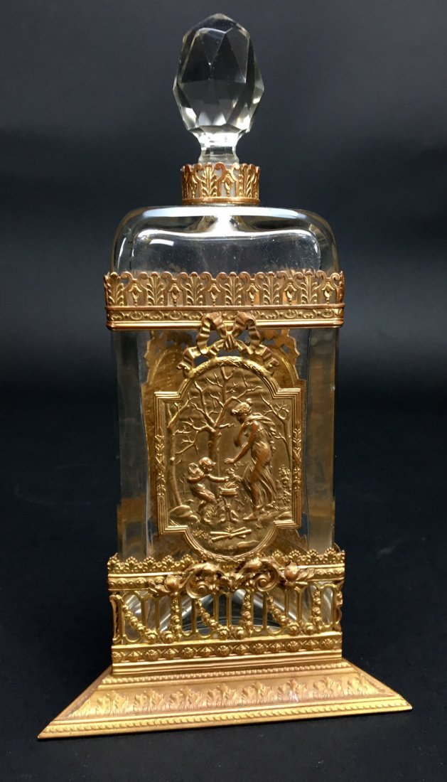 DORE BRONZE AND BACCARAT GLASS PERFUME BOTTLE - 2