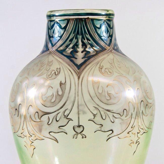 A LARGE FRITZ HEKARD ENAMELLED GLASS VASE - 2