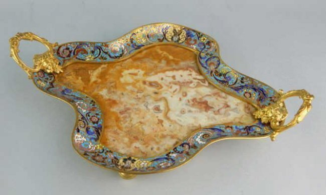 19TH CENTURY FRENCH CHAMPLEVE ENAMEL & MARBLE TRAY