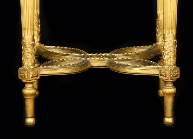 19TH CENTURY ONYX TOP GUILTWOOD GUERIDON - 3