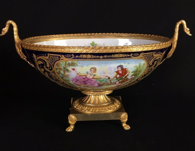 LARGE FRENCH ORMOLU MOUNTED SEVRES CENTERPIECE