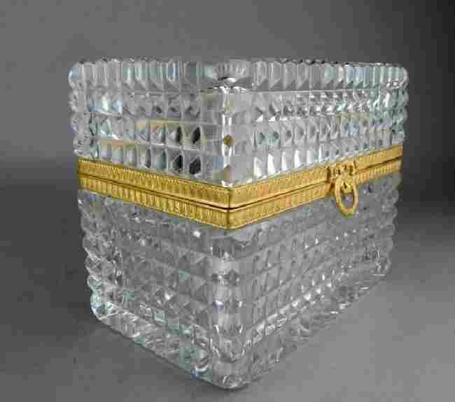 ORMOLU MOUNTED BACCARAT CRYSTAL BOX