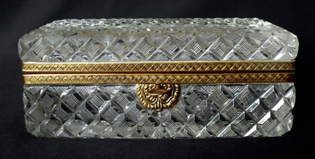 A DORE BRONZE MOUNTED BACCARAT CRYSTAL BOX