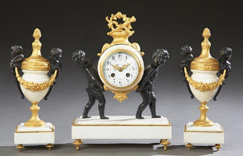 19TH CENTURY FIGURAL BRONZE AND MARBLE CLOCK SET