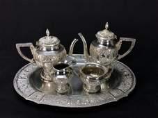 A 19TH C. GERMAN 800 SILVER TEA SET