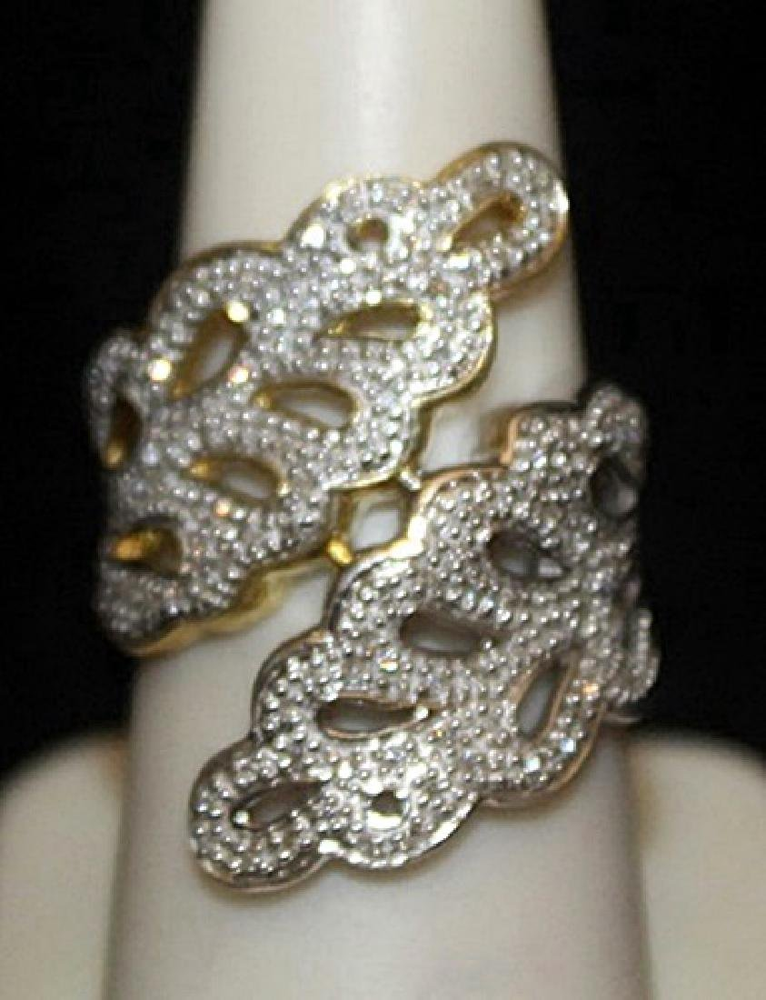 Gorgeous 14kt over Silver Ring with Diamonds (122I)