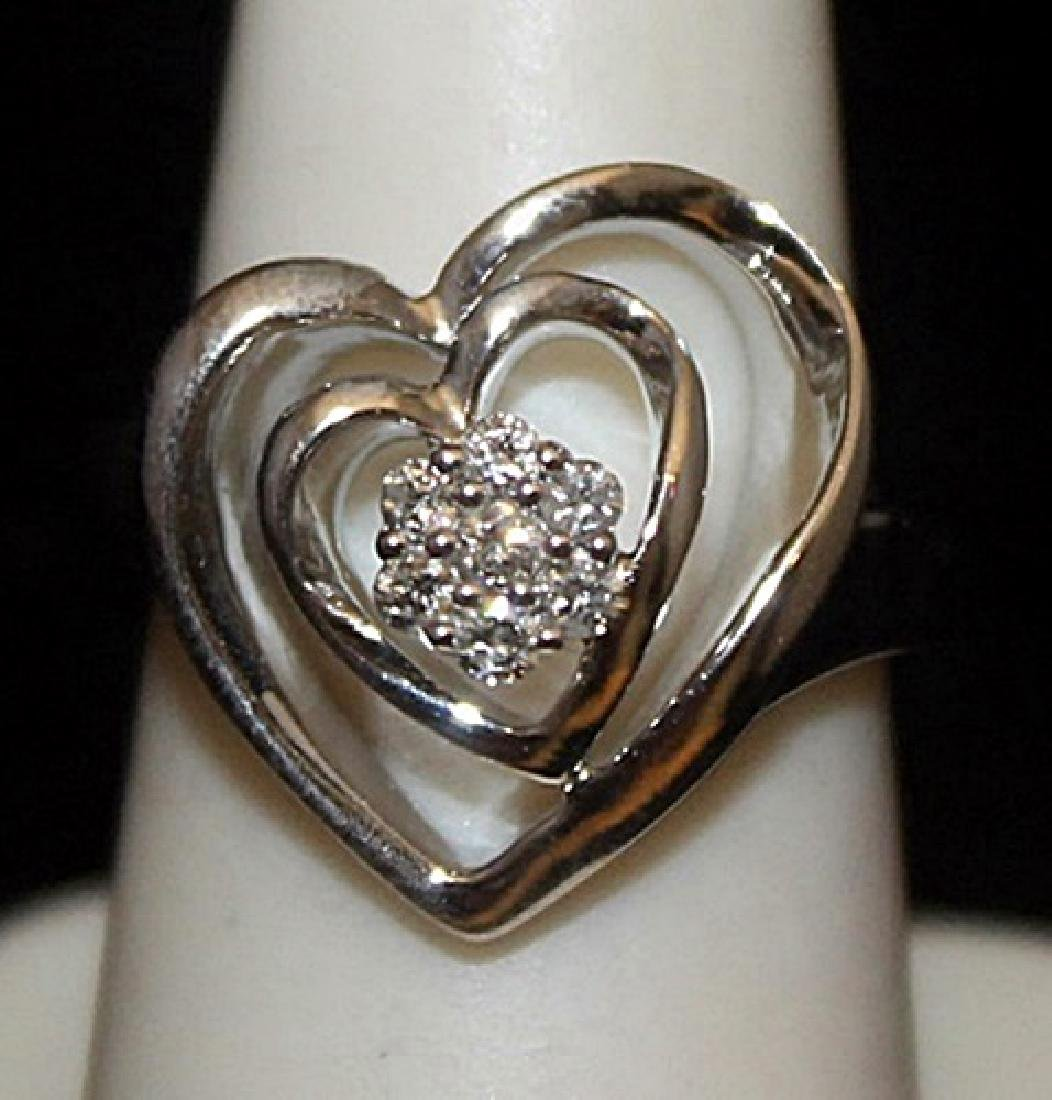 Lady's Fancy Silver Double Heart Ring with Diamonds