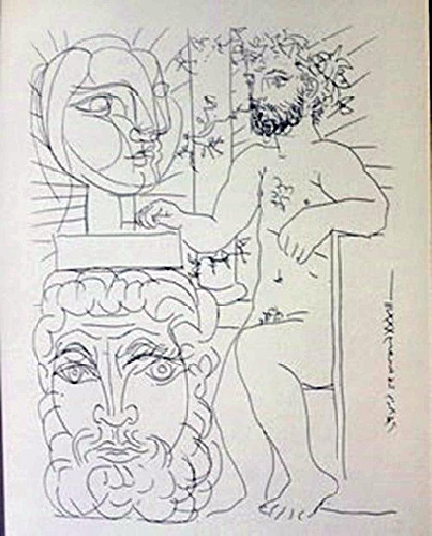 Sculpture and two heads 1933 lithograph  -  Picasso