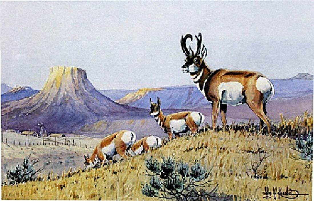 "Print ""Prong Horns Working the Ridge"" after Les C."