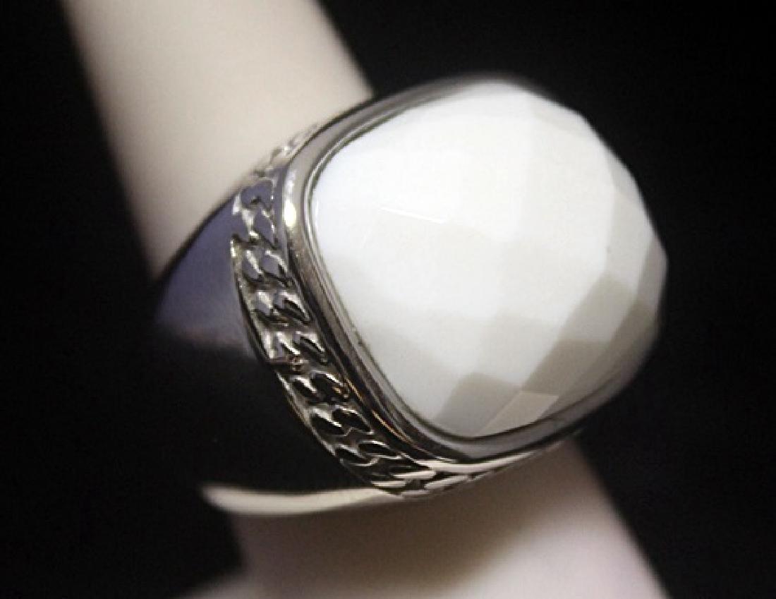 Elegant Unisex White Agate Silver Ring