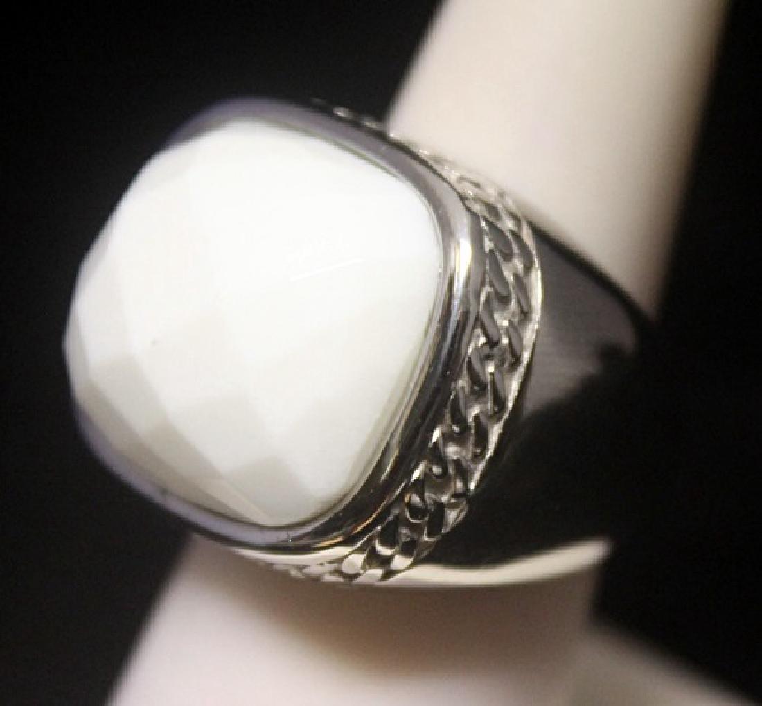 Elegant Unisex White Agate Silver Ring - 2