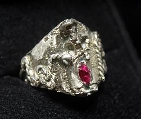 Fine Custom Cowboy Ruby Silver Ring