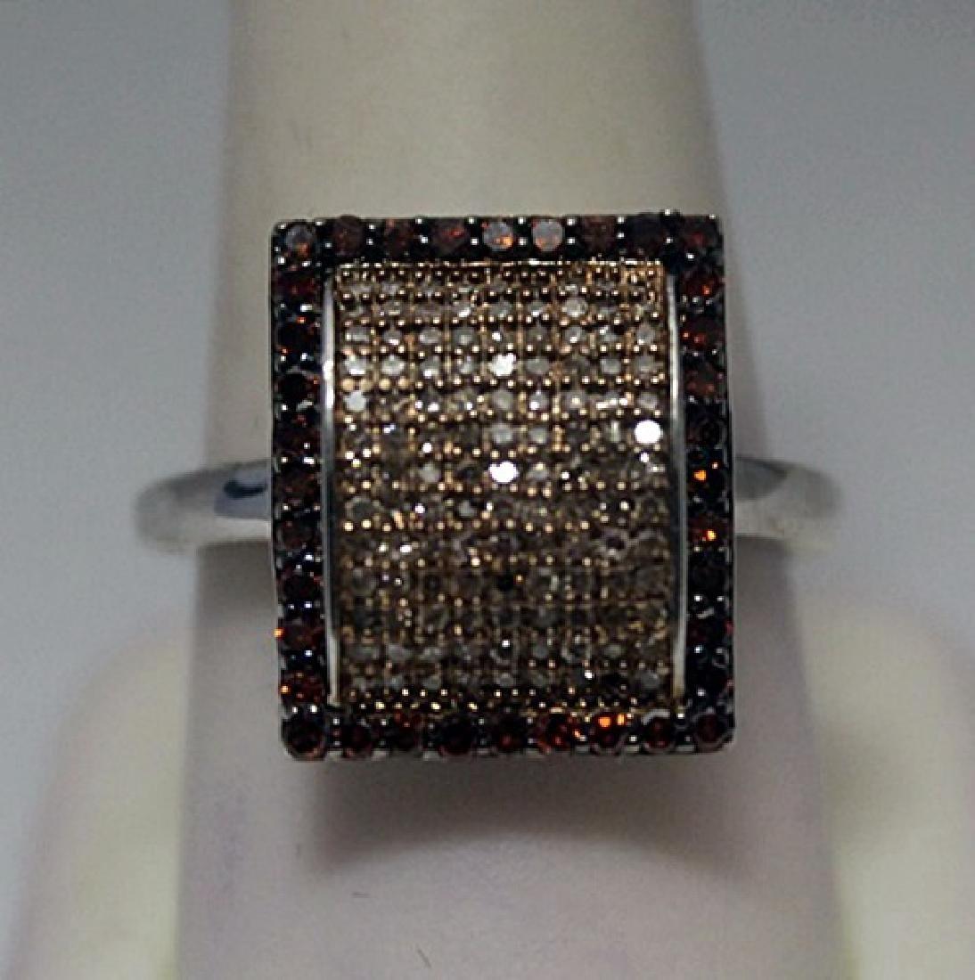 Fine Red & Champagne Diamonds Silver Ring