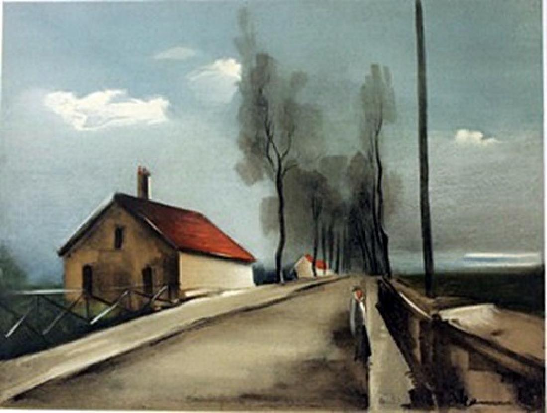 The Brezolles road - Lithograph  -  Maurice de Vlaminck