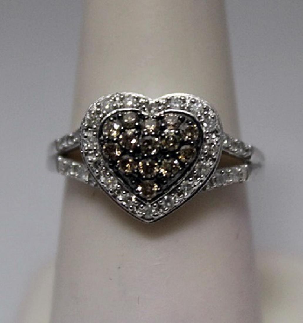 Stunning Heart Shape Champagne & White Diamonds Silver
