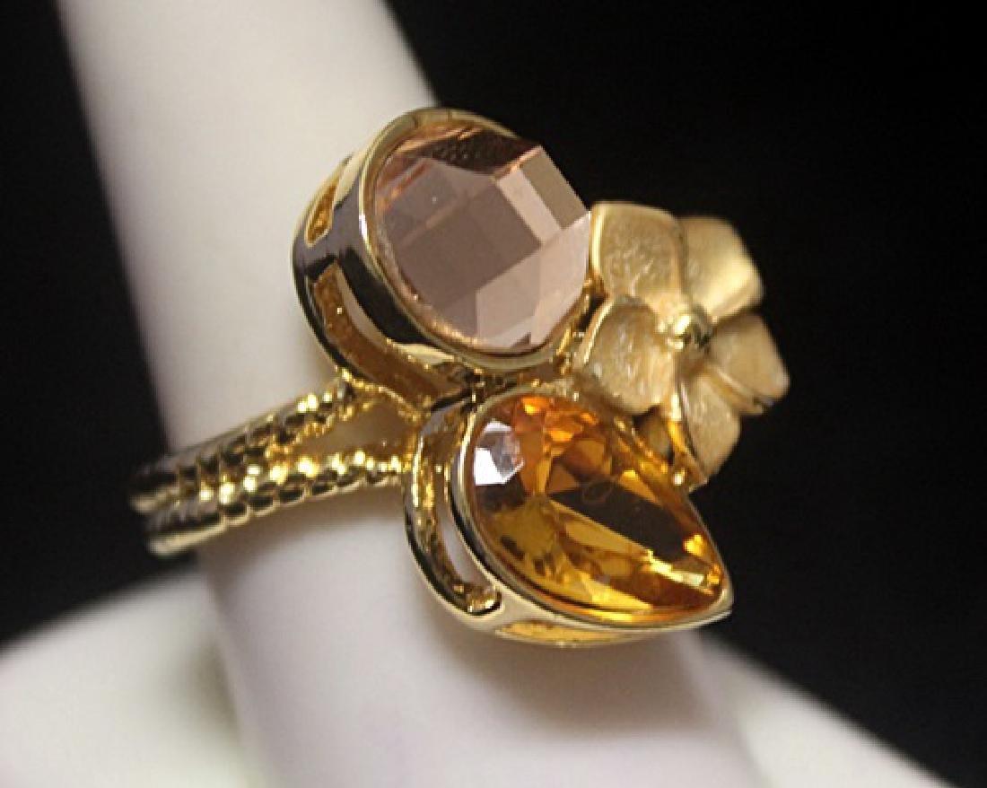 Dazzling 14kt Gold over Silver Designer Ring