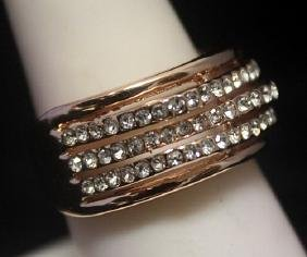 Elegant 14kt Rose Gold over Silver White Sapphire Ring
