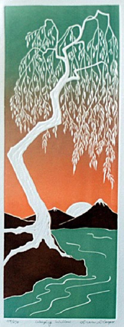 """Embossed Lithograph, Entitled: """"Weeping Willow"""""""