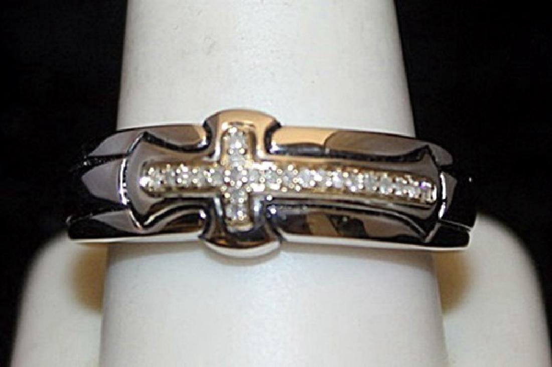 Fancy 14kt over Silver Cross Ring with Diamonds (103I)