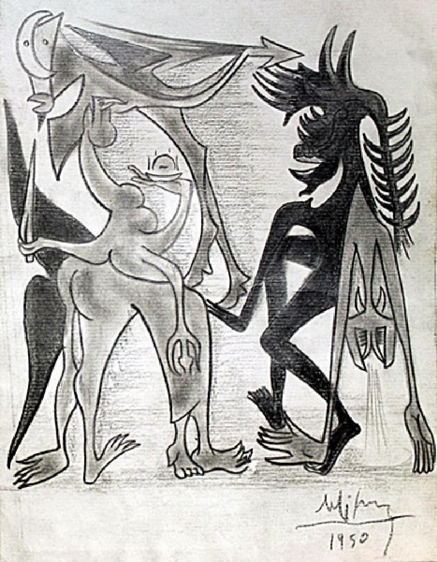 Characters of Hell 50' - Drawing - Wilfredo Lam