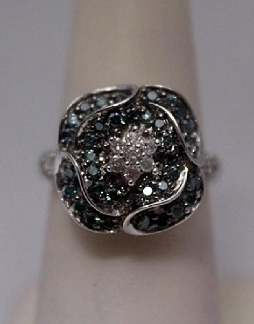 Beautiful Blue & White Diamonds Silver Ring