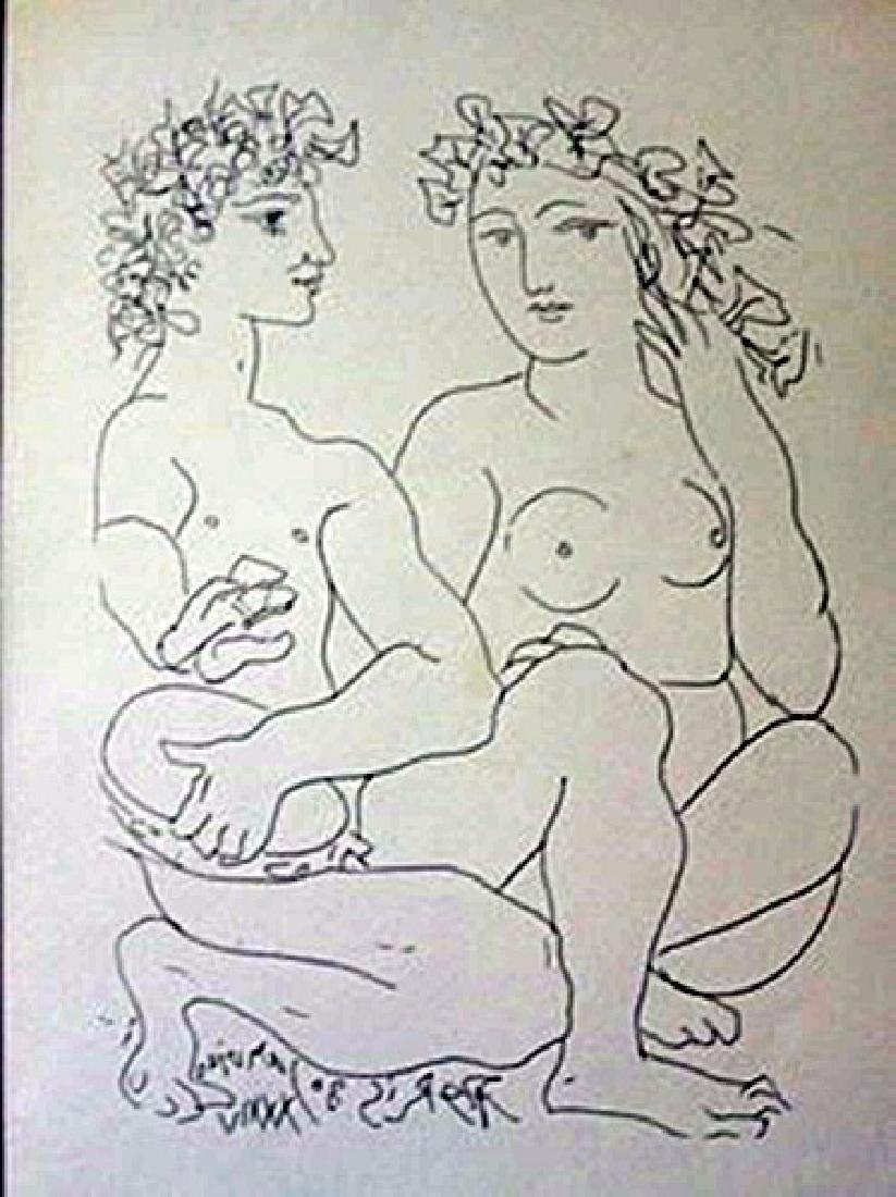 Nude and tambourine Playor - Litho -  Picasso