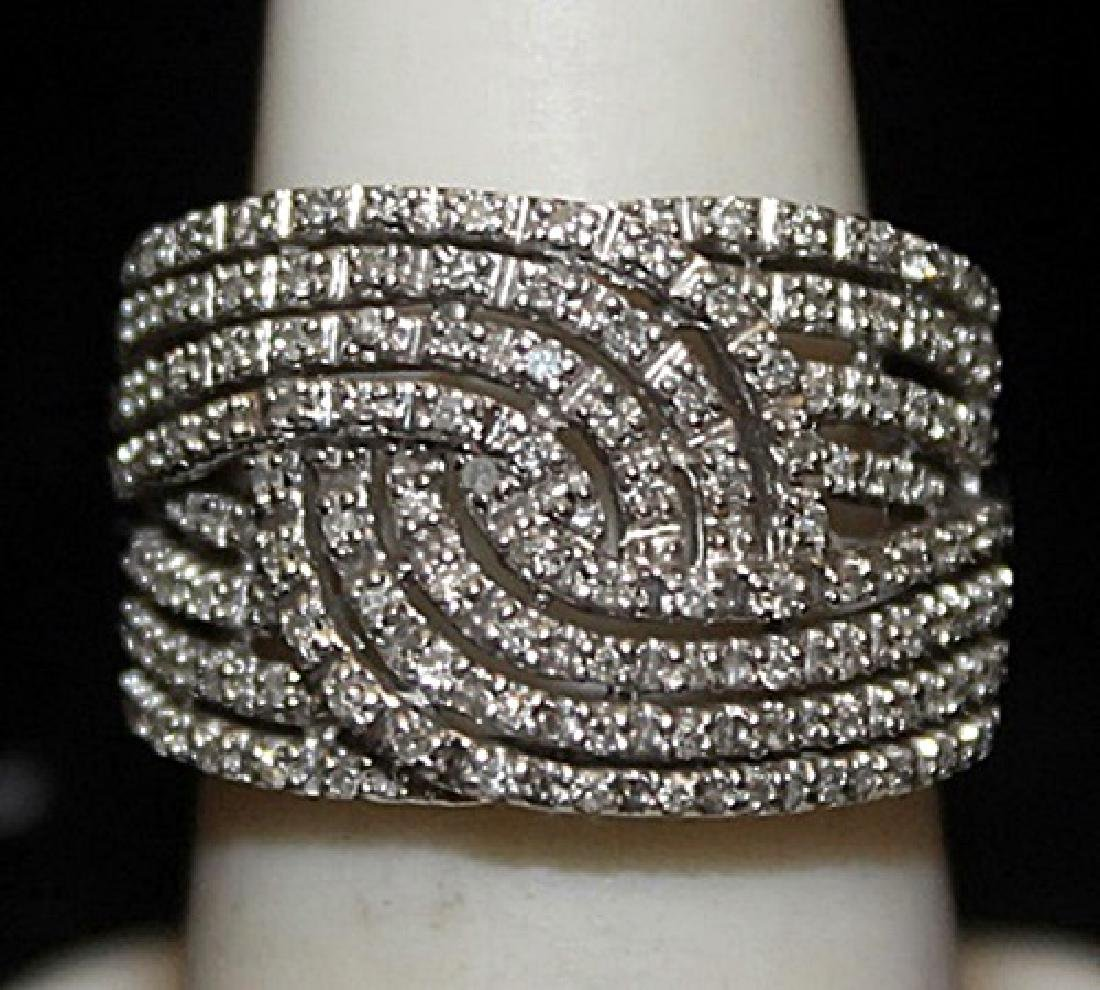 Beautiful Silver Ring with Cluster Diamonds (183I)