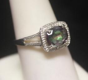 Gorgeous Russian Alexandrite & Diamonds  Silver Ring