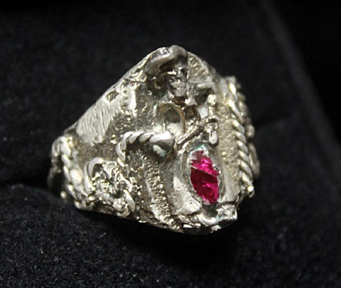 Fine Custom Cowboy Ruby Silver Ring