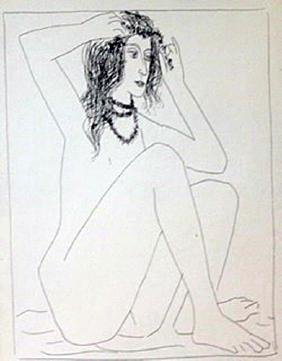 Seated Nude Grooming Herself - Lithograph  Picasso