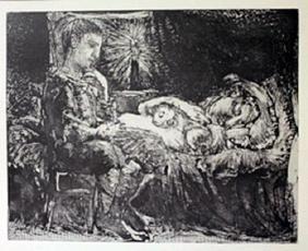 Boy waiting over sleeping women - Lithograph  -