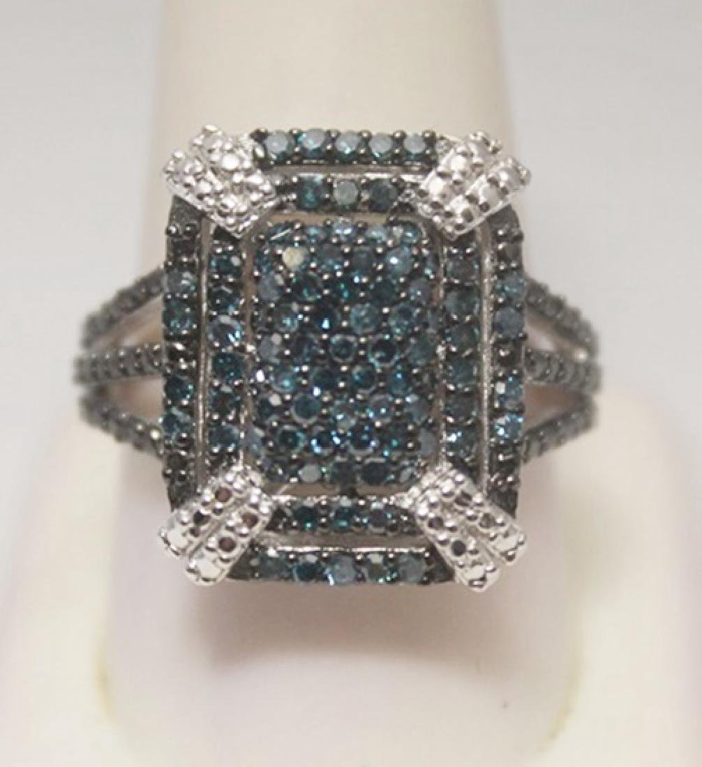 Elegant Blue Diamonds Silver Ring