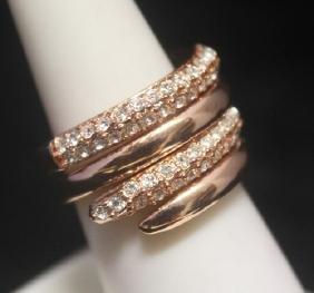 Elegant 14kt Rose Gold over Silver Sapphire Ring