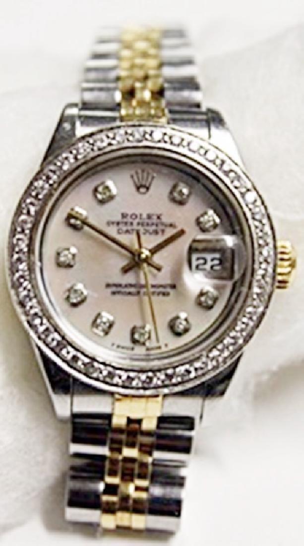 Lady's 18K Diamond Dial Datejust Rolex Watch