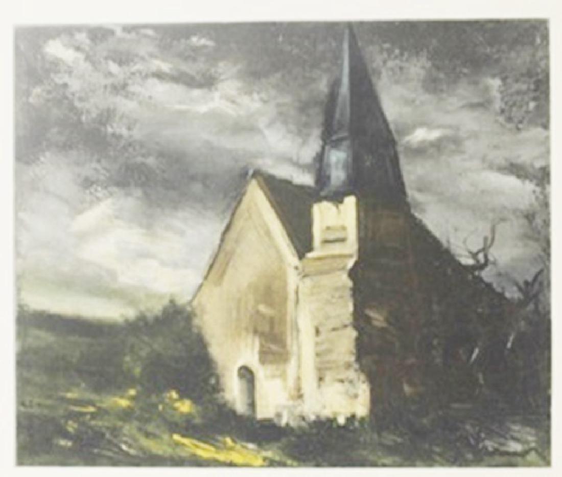 Church at Saint-lupin - de Cravant - Lithograph  -